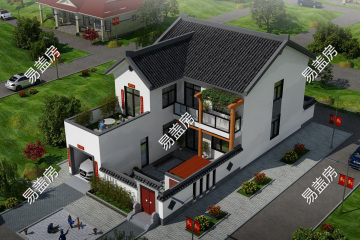 河南新乡褚家新中式别墅设计图纸