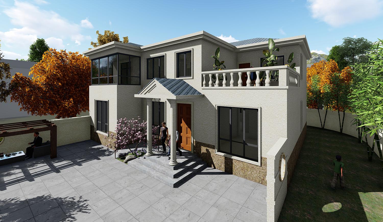 别墅  门头选用欧式经典人字顶,雨棚制造的空间与三步台阶为建筑增加
