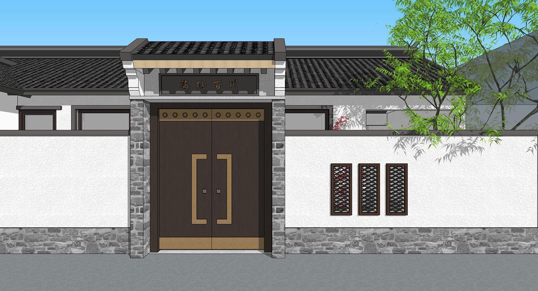 建房图库 北京通州张家新中式别墅  入户门没有造型上的强调和突出,仅