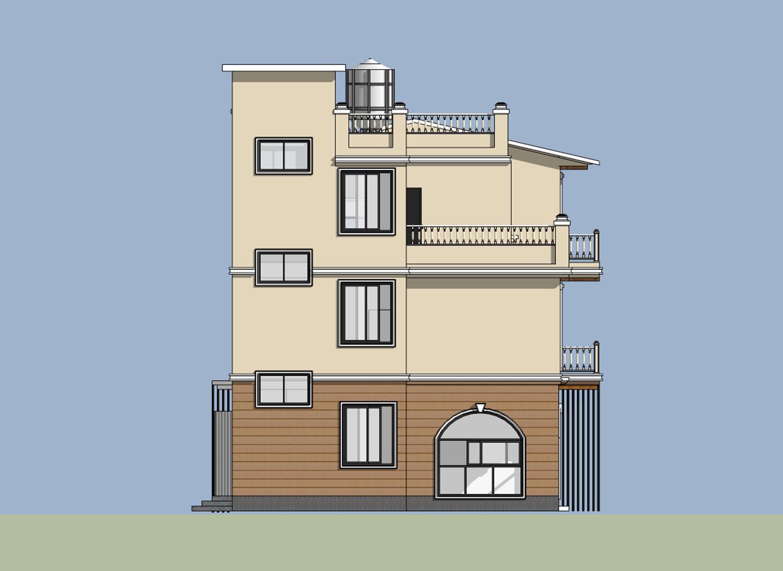 欧式别墅  入户位置没有相对显眼的门头,二层阳台作为一层雨棚,利用木