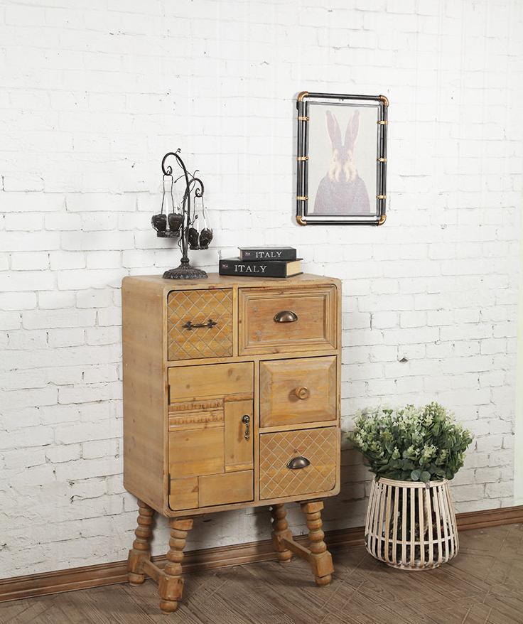 实木玄关复古做旧收纳柜