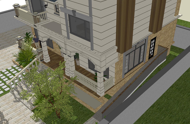 欧式 二楼房子平视图