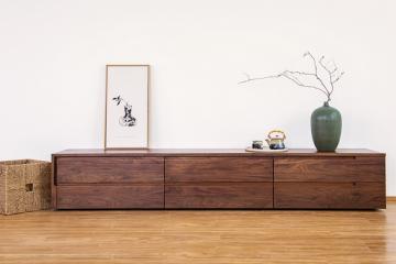 日式黑胡桃木電視柜實木儲物柜