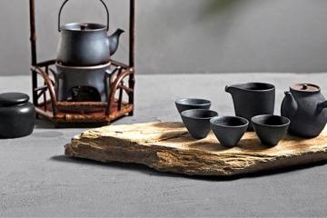 日式鐵釉茶具套裝