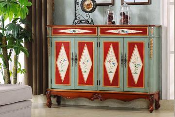 彩繪美式實木鞋柜