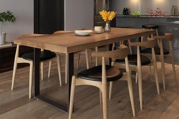 美式工業風實木餐桌