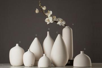 現代簡約白色素燒陶瓷花瓶