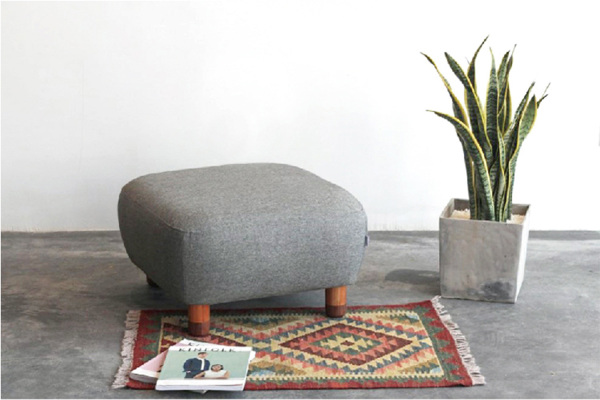 棉麻豆沙包实木脚可拆洗沙发凳