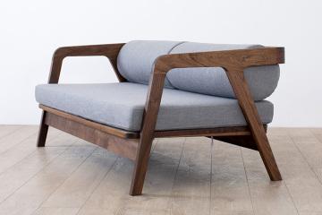 日式黑胡桃木純實木雙人組合沙發