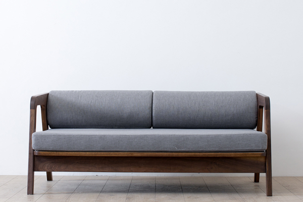 日式黑胡桃木纯实木双人组合沙发
