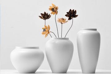 禪意潤白陶瓷干花花瓶