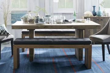 乡村实木长方形餐桌
