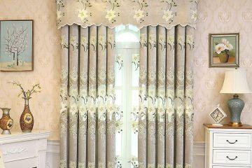 高档刺绣百合花新中式绣花半遮光客厅窗帘窗纱