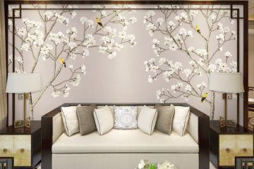 玉蘭花開新中式客廳壁紙
