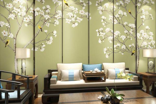 玉兰花开新中式客厅壁纸