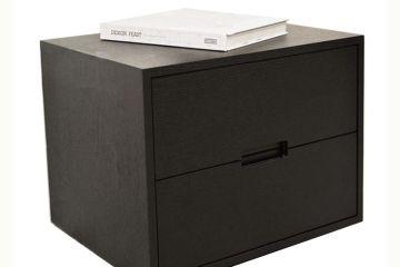 簡約現代黑橡木色床頭柜