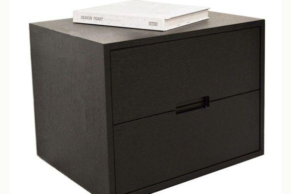 简约现代黑橡木色床头柜