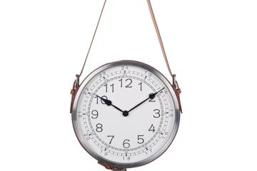 可立特簡約皮帶金屬壁掛鐘