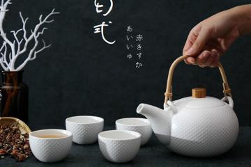 日式提梁花茶壶茶杯