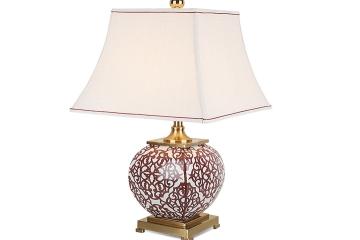 新中式艺术窗花手绘高温陶瓷台灯