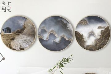 圆形实木画现代简约客厅装饰画