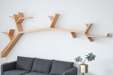 实木创意树形挂墙书架