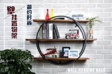 壁挂实木圆形置物架书架