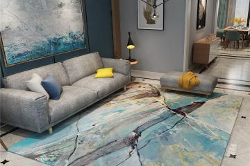 抽象水墨客厅地毯