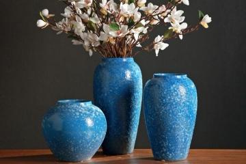时尚粗陶摆件蓝色陶瓷花瓶
