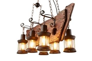 个性漫咖啡船实木艺吊灯